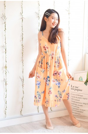 Call It Home Floral Button Dress in Yellow