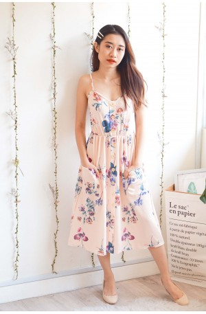 Call It Home Floral Button Dress in Pink
