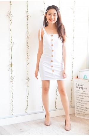 Madness to Mayhem White Button Bodycon Dress