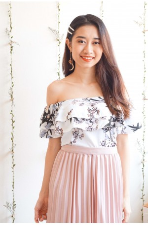 Come Undone Floral Off Shoulder Top in White