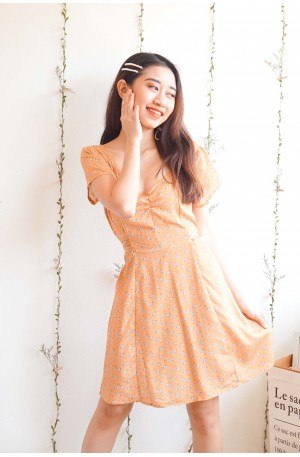 Just Lovely Yellow Chiffon Floral Dress