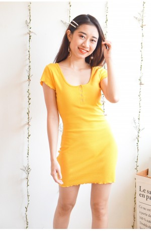 Came Out For Play Yellow Bodycon Dress