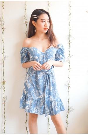 Mine for Shore Blue Floral Off Shoulder Dress