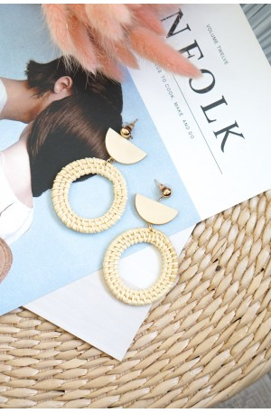 Raffia Circle Rattan Earrings
