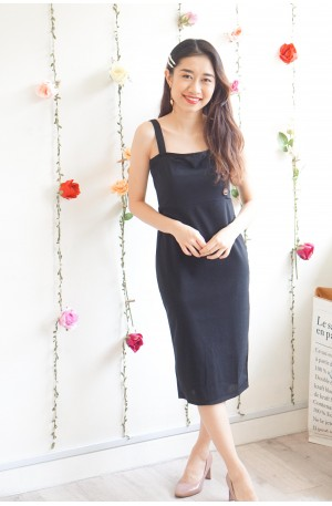 Stay Focused Black Bodycon Button Dress