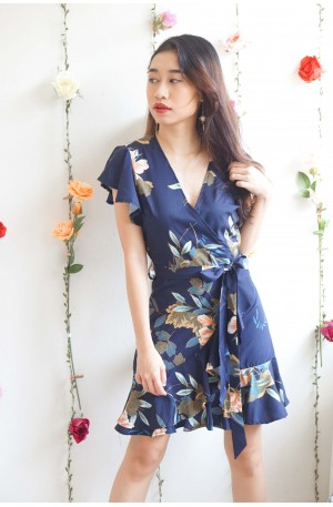 Dearly Missed Blue Floral Ruffles Dress