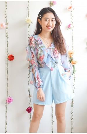 Fantasy Or Real Light Blue Floral Jumpsuit