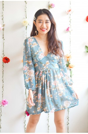 What A Keeper Blue Floral Long Sleeve Dress