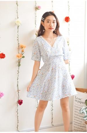 Unintentional Fling Floral V Neck Dress in Light Blue