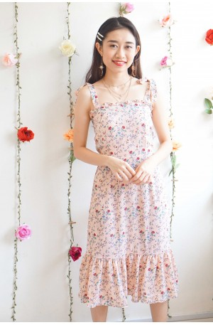 To Hearts Content Self Tied Ribbon Floral Dress in Pink