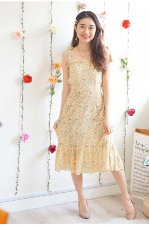 To Hearts Content Self Tied Ribbon Floral Dress in Yellow