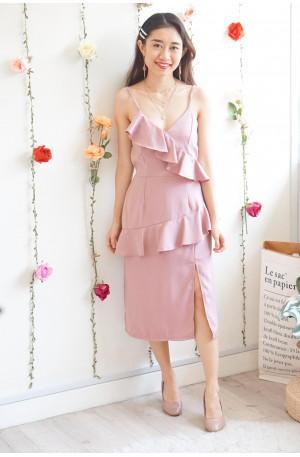 Magda Ruffles Dress in Pink