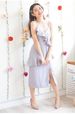 Magda Ruffles Dress in Lilac