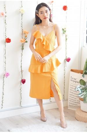 Magda Ruffles Dress in Yellow