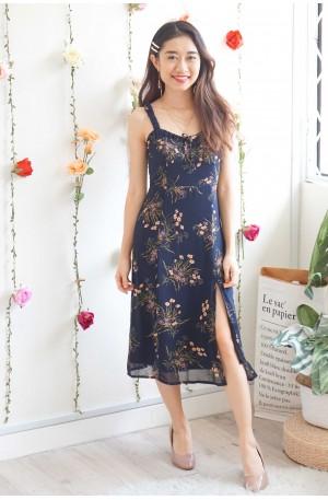 (BACKORDER) Girl Like You Black Floral Slit Midi Dress