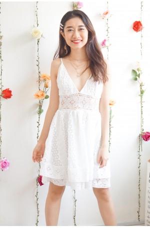 Breeze in Paradise White Crochet Skater Dress