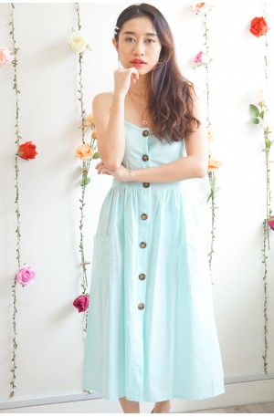 Pretty Thoughts Button Down Midi Dress in Mint Green