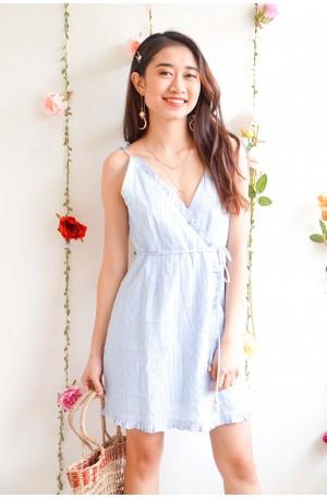 (BACKORDER) Softer Than Cotton Light Blue Wrap Dress