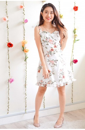 What A Gem White Floral Self Tied Sleeves Dress