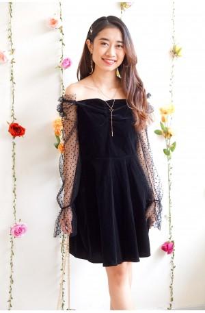 (BACKORDER) Hush Love Black Mesh Velvet Dress