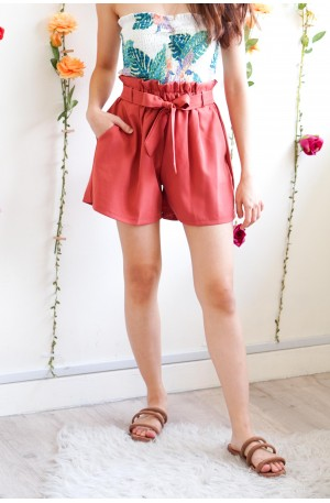 Realizing Things High Waisted Shorts in Brick Red