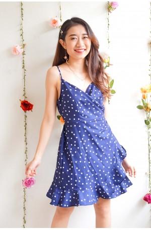 (BACKORDER) More Than Friends Polka Dot Dress in Blue