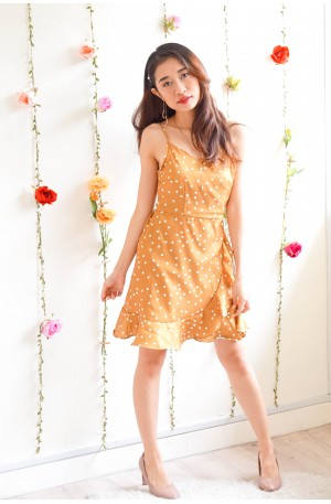 More Than Friends Polka Dot Dress in Yellow