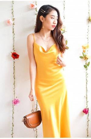 (BACKORDER) Rich In Love Yellow Satin Midi Dress