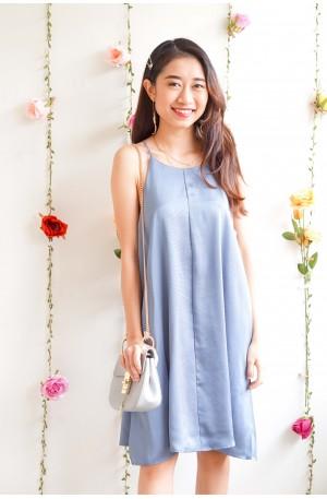(BACKORDER) Love Comes First Satin Halter Dress in Blue