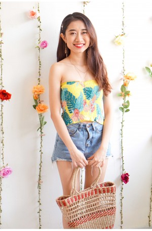 (BACKORDER) Flowerchild Floral Tube Top in Yellow