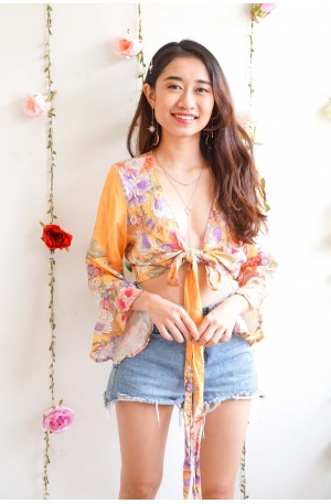 Promise Nothing Yellow Floral Tie Front Top