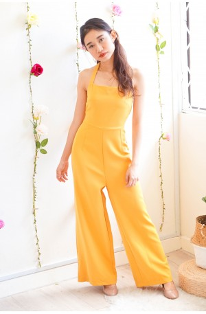 Lucky In Love Halter Maxi Jumpsuit in Yellow
