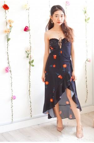 No Going Back Rose Asymmetrical Maxi Dress in Black