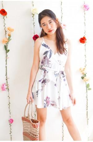 (BACKORDER) Sweet Thinking White Floral Ribbon Ruffles Dress