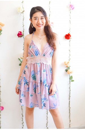 Seashells and Martinis Purple Floral Bareback Dress
