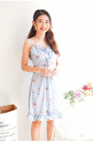 New Dawn Lace Up Floral Dress in Light Blue