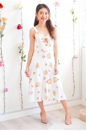 Warm Morning Light White Floral Midi Dress