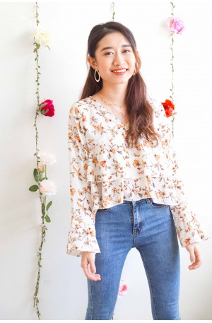 Autumn Along White Floral Layered Long Sleeve Top