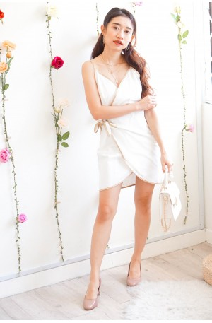 Good Faith White Wrap Dress with Gold Lining