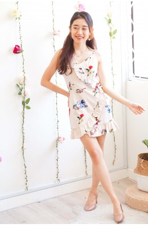 Sweetalker Stripes Floral Ruffle Dress