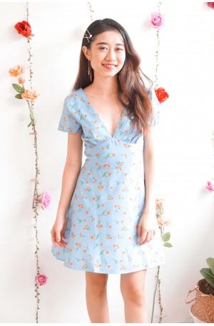 Heart of Sunshine Blue Floral Deep V Dress