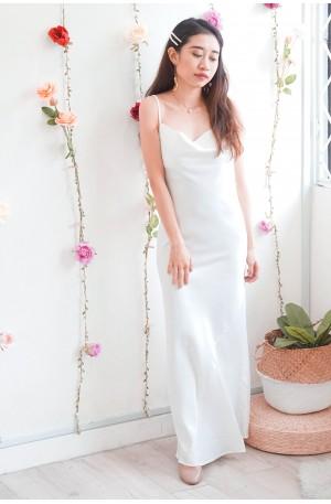 (BACKORDER) Absolute Goddess White Satin Maxi Dress