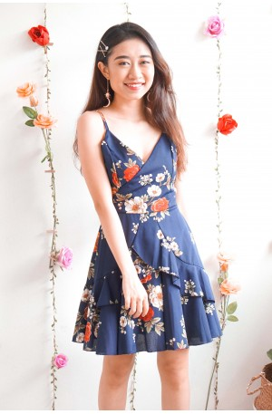 (BACKORDER) Blooming From Within Floral Ruffles Dress in Dark Blue