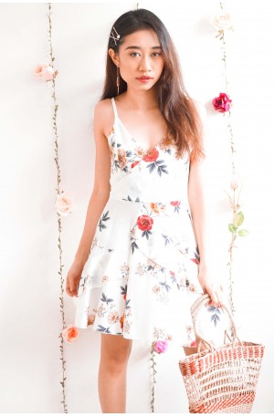 Blooming From Within Floral Ruffles Dress in White