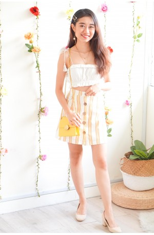 New Look Yellow Stripes Button Skirt