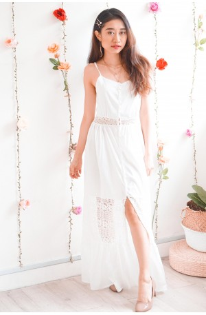 Isle to Paradise White Lace Maxi Dress