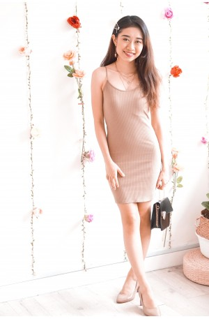 (BACKORDER) Chickaboo Beige Bodycon Dress