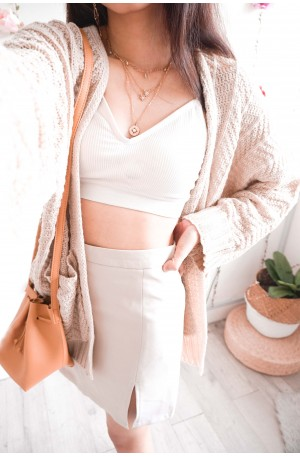 Toffee Candy Beige Oversized Cardigan