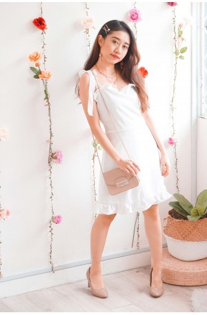 Pure Bliss Self Tied Sleeves Ruffle Dress in White