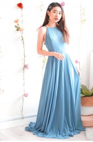 Queen in Azure Blue Halter Maxi Dress